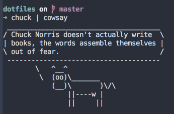 An ASCII drawing of a cow telling a Chuck Norris joke.