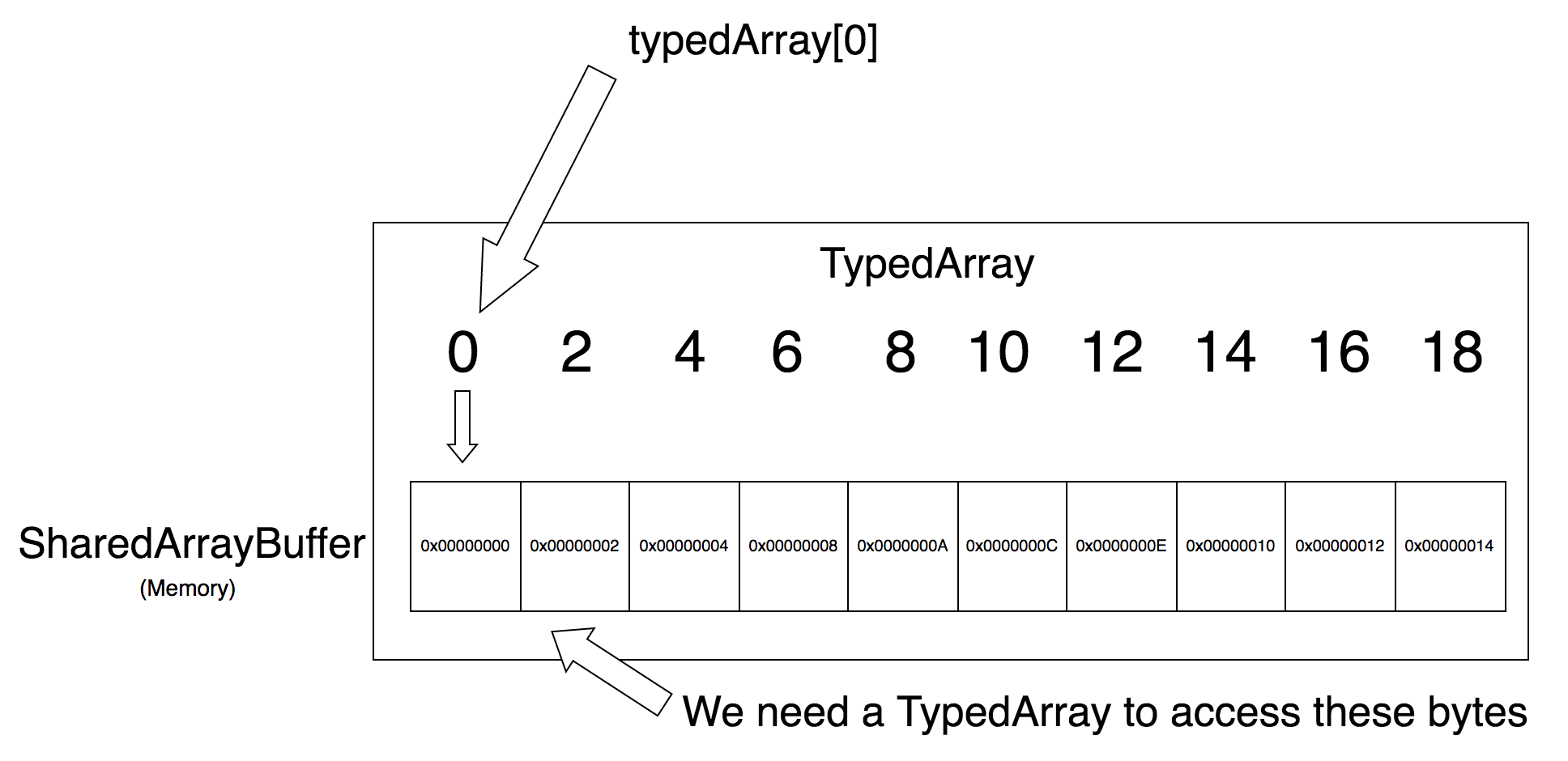A Typed Array is a view on top of a shared memory area