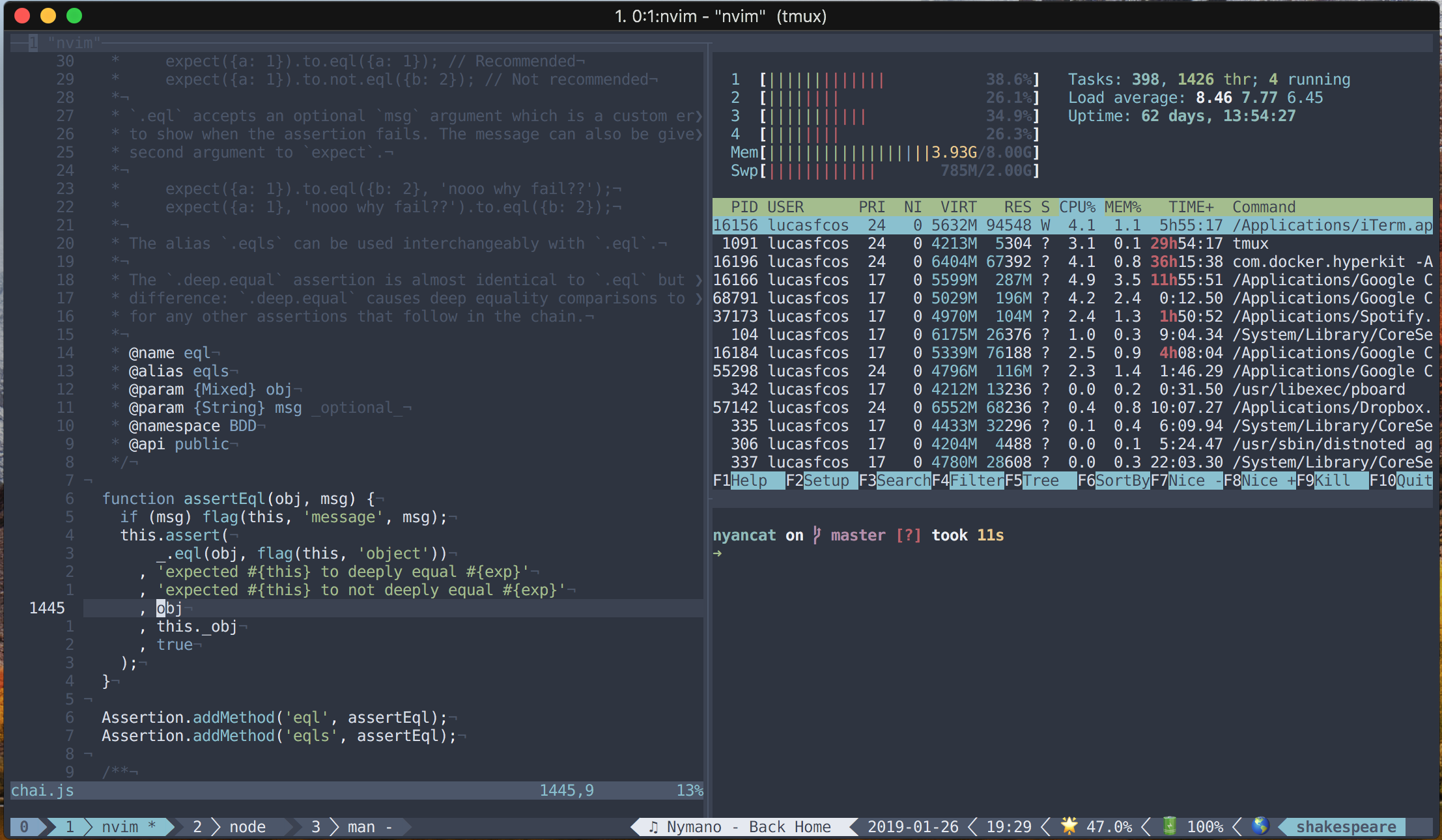 An image from my terminal showing three panes. My text editor (`vim`), htop and a blank pane.